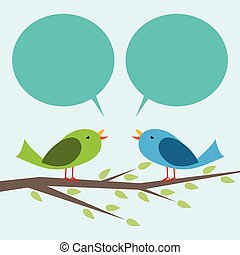Zwei Vögel kommunizieren
