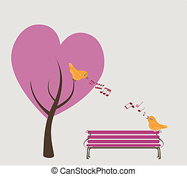 Zwei Vögel singen im Herbstpark