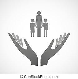 Zwei Vektorhände mit einem weiblichen Single Eltern-Familien-Piktogramm.