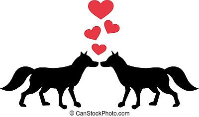 Zwei verliebte Fuchse.