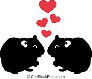 Zwei verliebte Hamster.