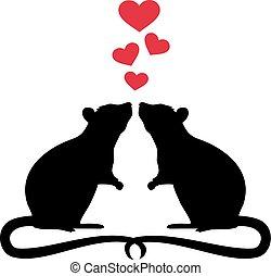 Zwei verliebte Ratten.