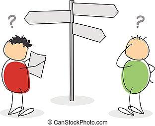 Zwei verlorene farbenfrohe Zeichentrickfiguren-Touristen.