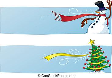Zwei Weihnachtsbanner.
