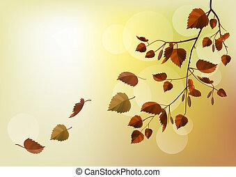 Zweig mit Herbstblättern im hellen Beige-Hintergrund.