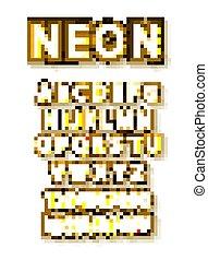 zwiebel, alphabet, goldenes, vektor, lampen