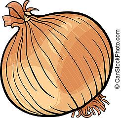 Zwiebel-Gemüse-Karikatur-Illustration