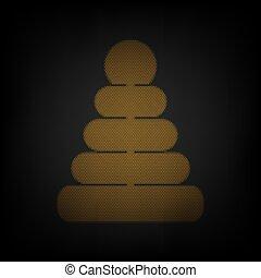 zwiebel, licht, ikone, orange, zeichen, pyramide, klein, gitter, illustration., darkness.