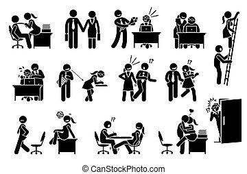 zwischen, beziehung, buero, angelegenheit, schäkerei, liebe, workers., co