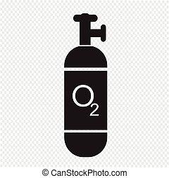 zylinder, sauerstoff, ikone