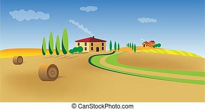 zypresse, bäume, landschaft., vektor, wachsen, schöne , einsam, mittelmeer, häusser